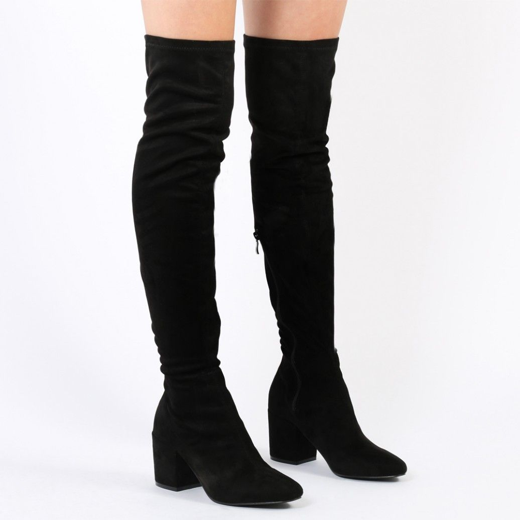 396801b4c96 Add some attitude to your look with our faux suede Anita over the knee boots.  Featuring a chunky block heel