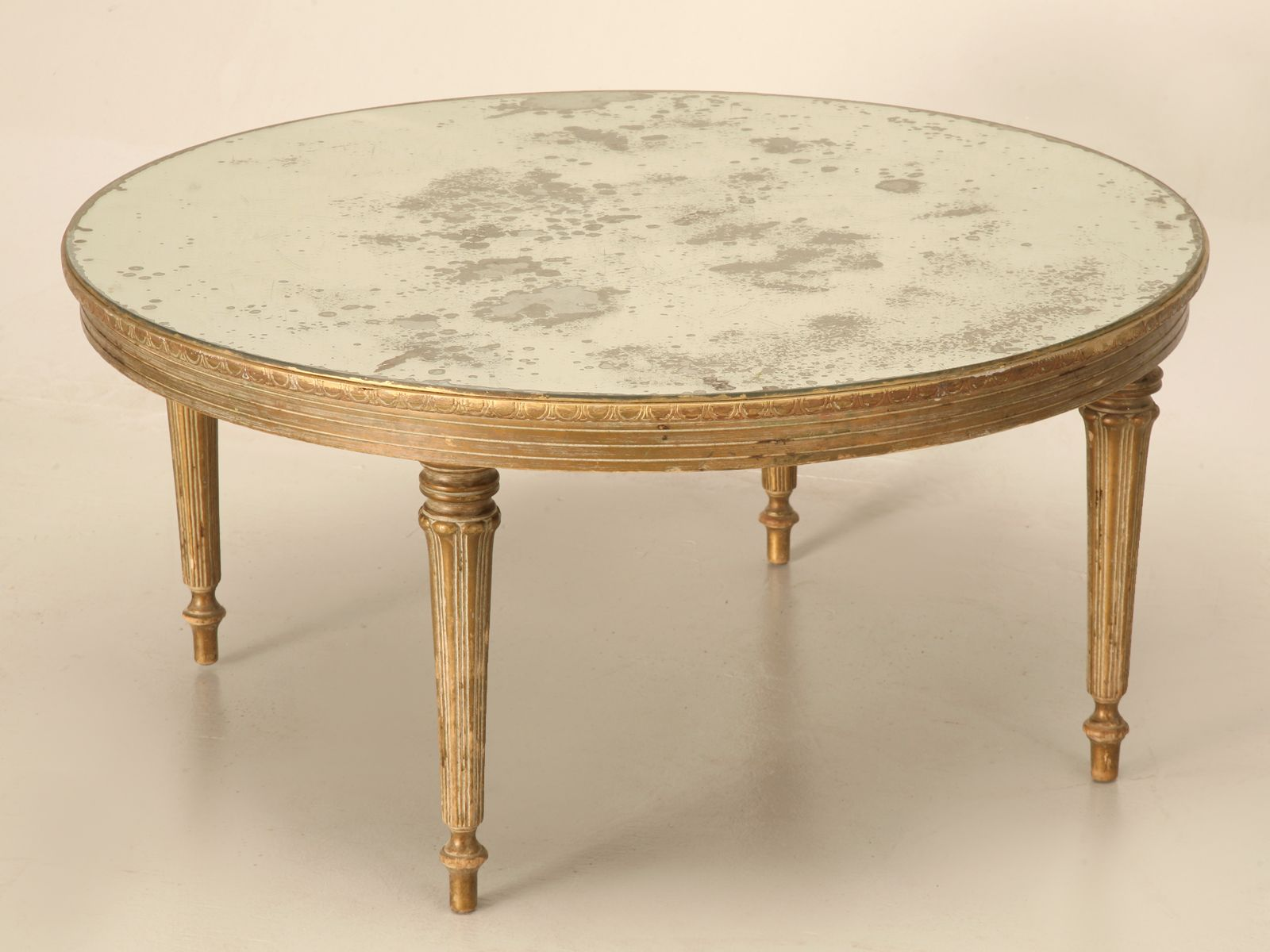 Vintage French Louis XVI Style Gilt and Mirrored Coffee Table