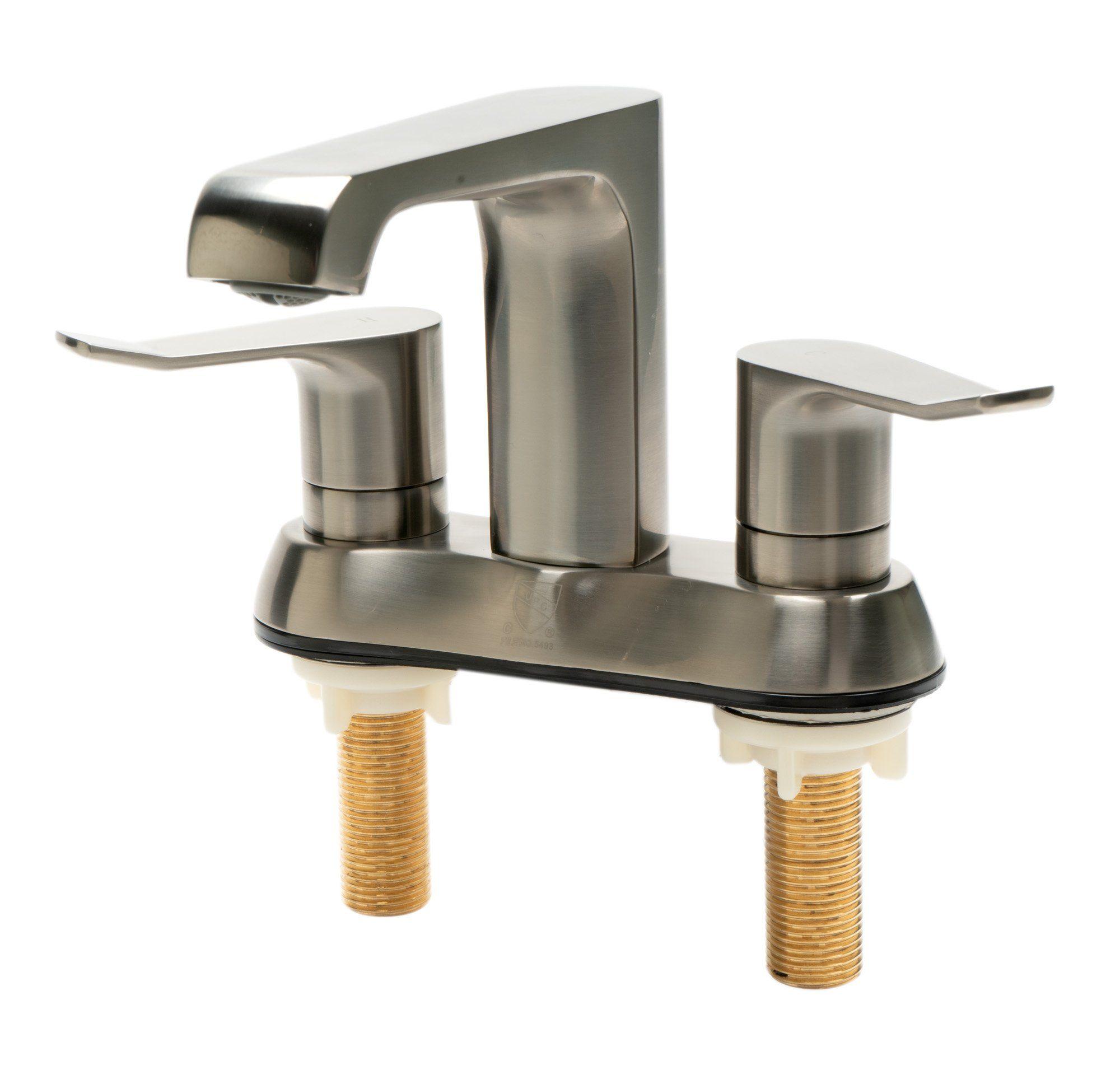 Photo of Zwei-Griff 4-'Centersets Badarmatur aus gebürstetem Nickel