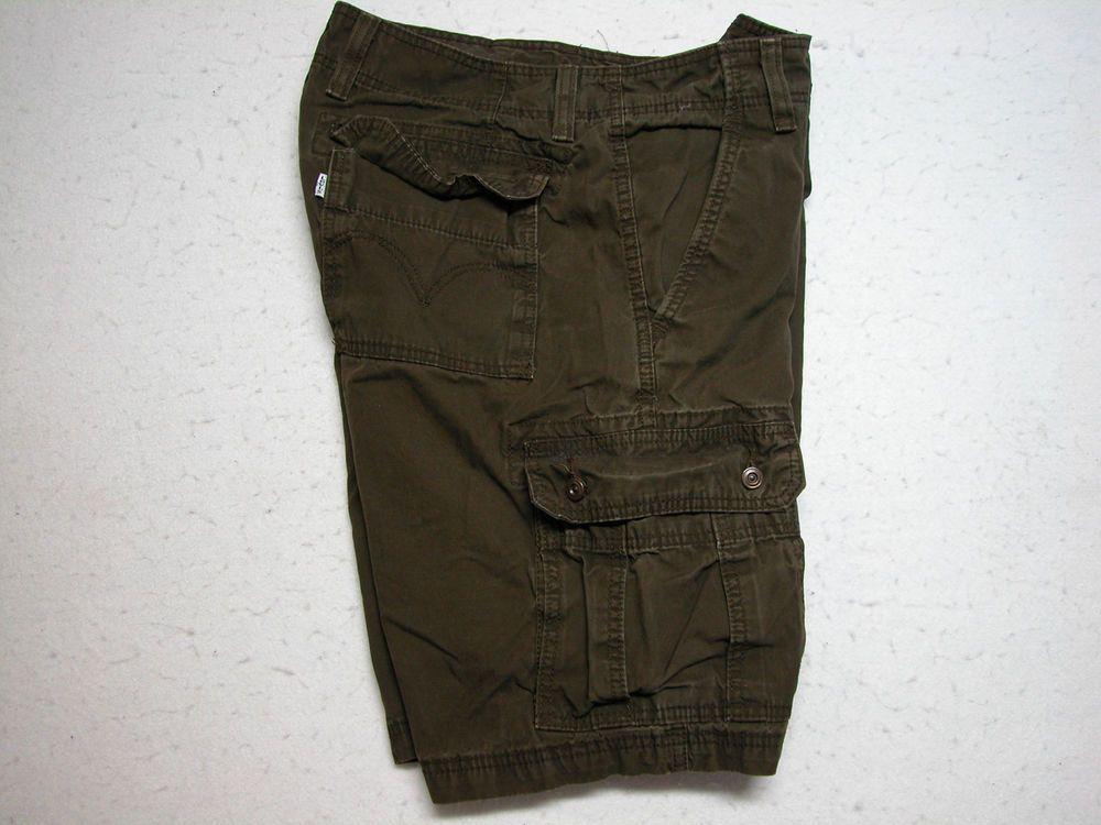 Mens Levis Brown Cargo Shorts Sz 36 100% Cotton ( Measure 36X11 ) #Levis #Cargo
