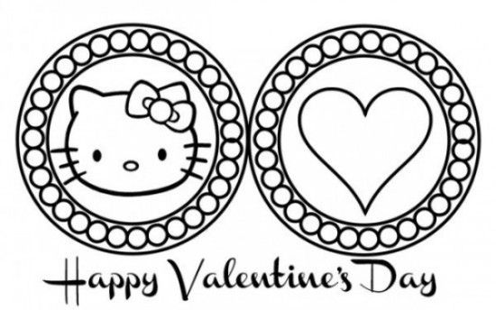 Free Hello Kitty Happy Valentines Day Coloring Page Picture 1 550x344 Picture In Touch