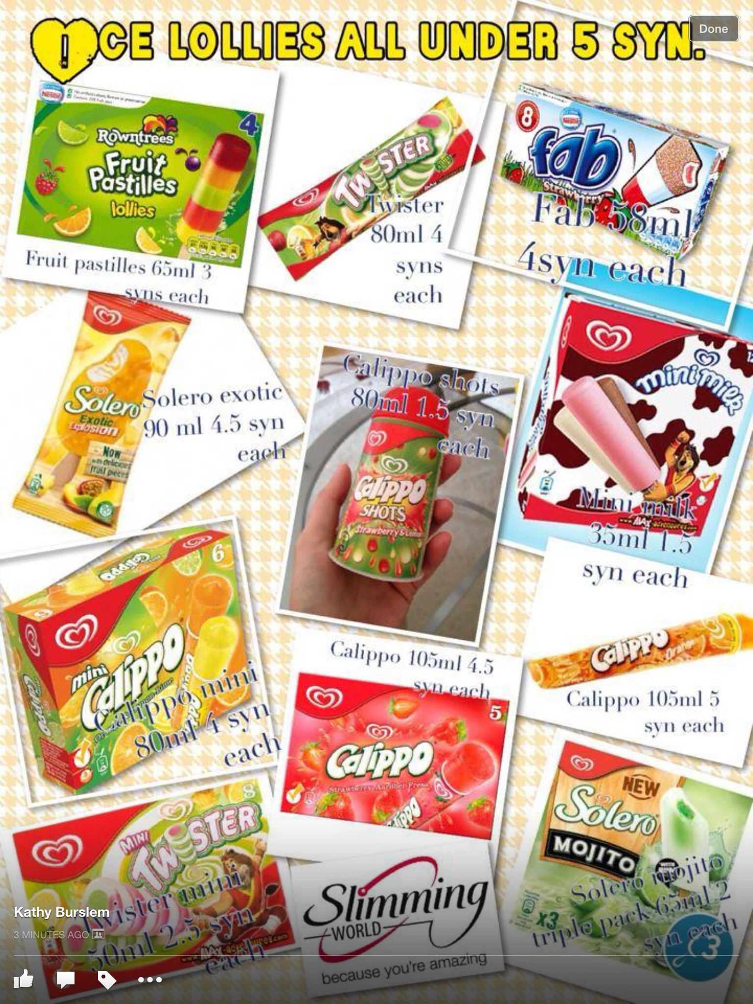 Ice lollies under 5 syns