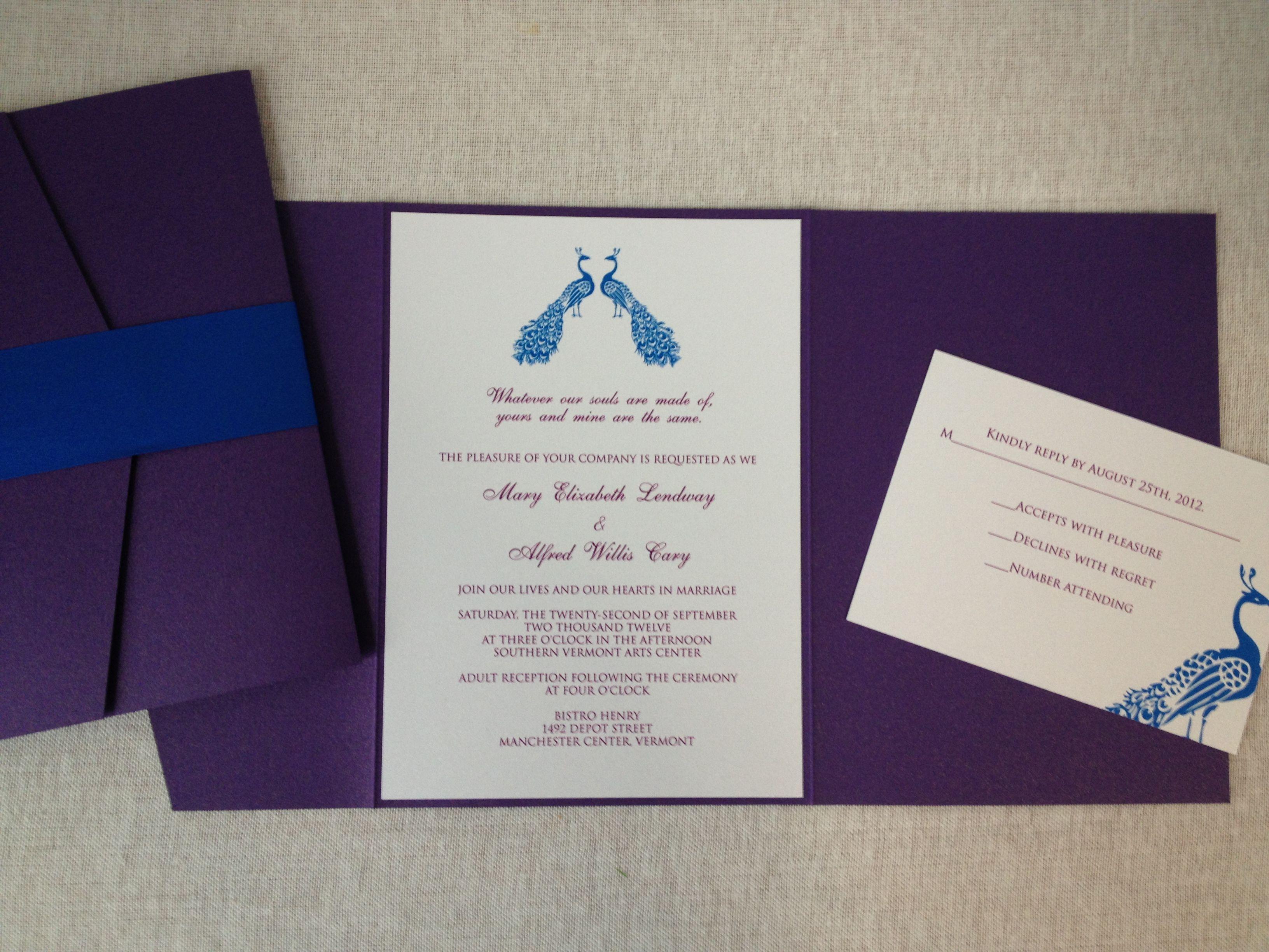 Custom Peacock Wedding Invitations From Www Lassodmoondesigns Com