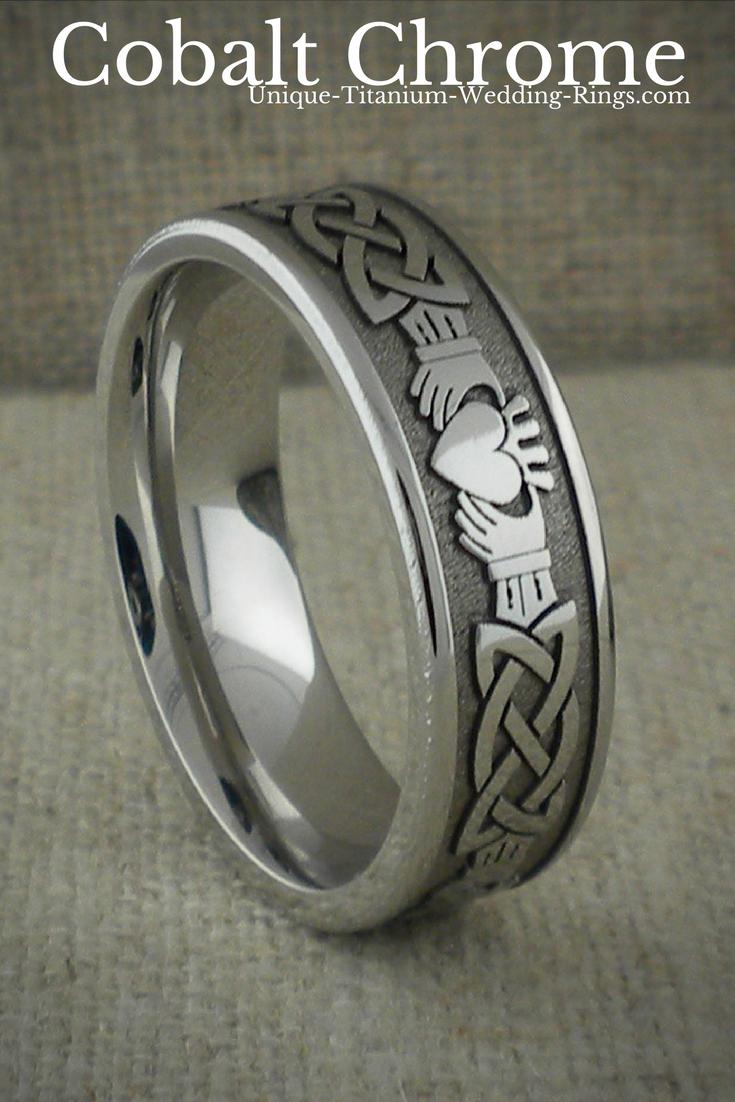 Claddagh And Celtic Knot Wedding Ring Titanium Or Cobalt Chrome Wedding Band Shown In Celtic Wedding Rings Claddagh Ring Wedding Black Diamond Ring Engagement