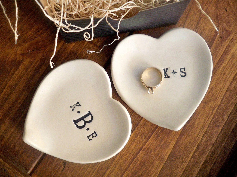 monogram ring dish engagement ring holder custom ceramic heart shaped jewelry bowl black