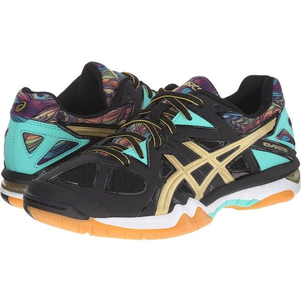 5c8b0edaf464 ASICS Gel-Tactic (Black Gold Electric Green) Women s Volleyball Shoes ( 80)  ❤ liked on Polyvore featuring shoes