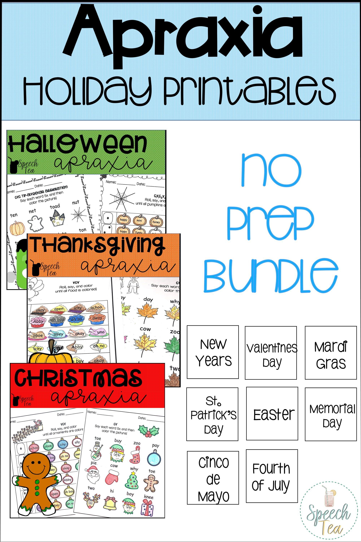 No Prep Holiday Apraxia Printables