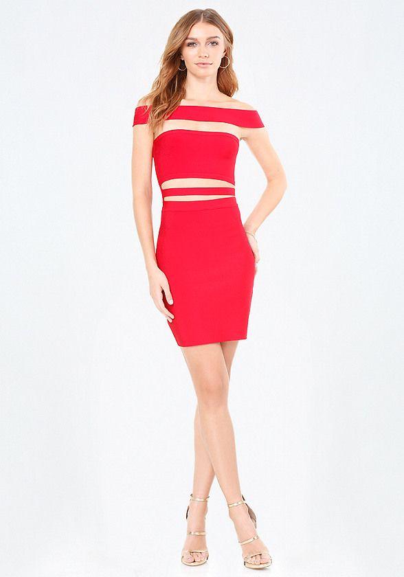 d156f27d7c74 bebe Off Shoulder Cutout Dress