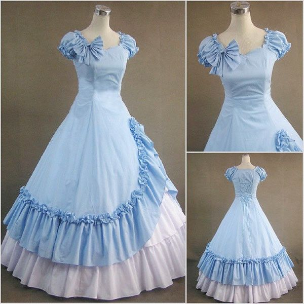 Blue White Gothic Victorian Ball Gown Punk Lolita Dress Stage ...