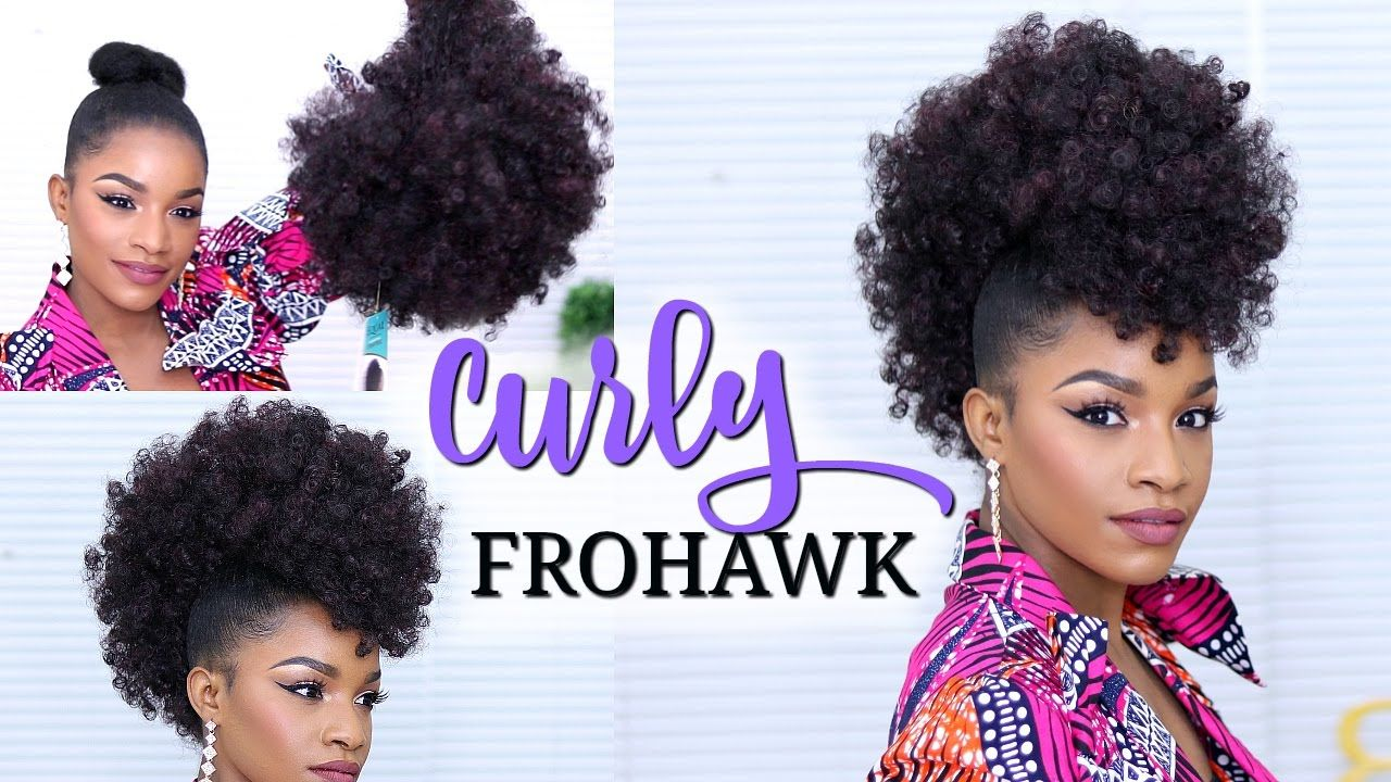 faux hawk using a drawstring ponytail | hair | curly hair