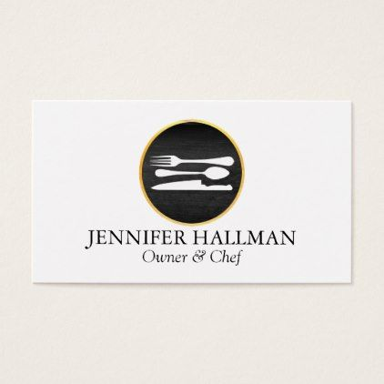 Modern gold black catering restaurant chef business card modern gold black catering restaurant chef business card black gifts unique cool diy customize personalize reheart