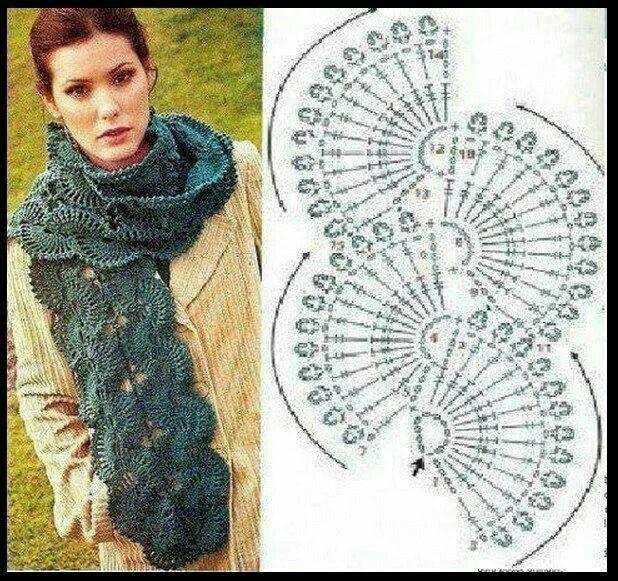 Scarf crochet pattern | bufandas | Pinterest | Chal, Tejido y Ganchillo