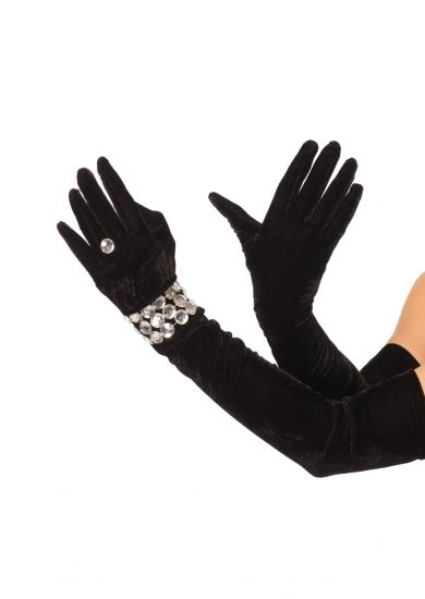 FANCY DRESS COSTUME GLOVES # VELVET OPERA BLACK