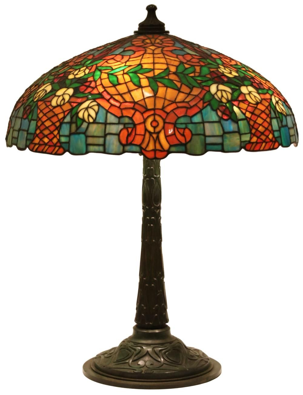 Gorham Leaded Glass Floral 20 Inch Table Lamp. Baskets of