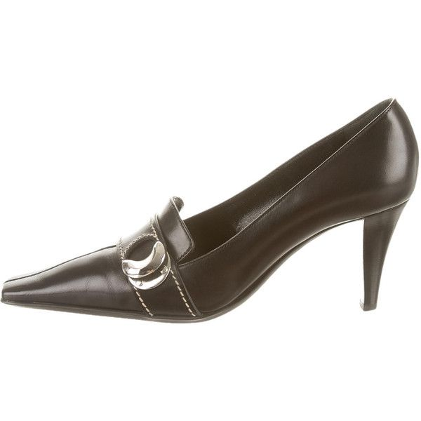 Pre-owned Sergio Rossi Semi Square-Toe Pumps ($85) ❤ liked on Polyvore featuring shoes, pumps, black, black pumps, black leather pumps, black leather shoes, real leather shoes i leather shoes