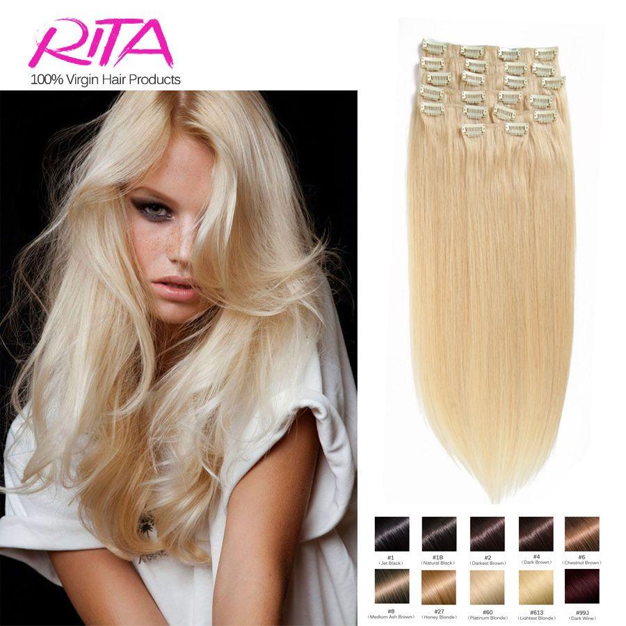 kleur 60 clip in human hair extensions blond menselijk haar clip