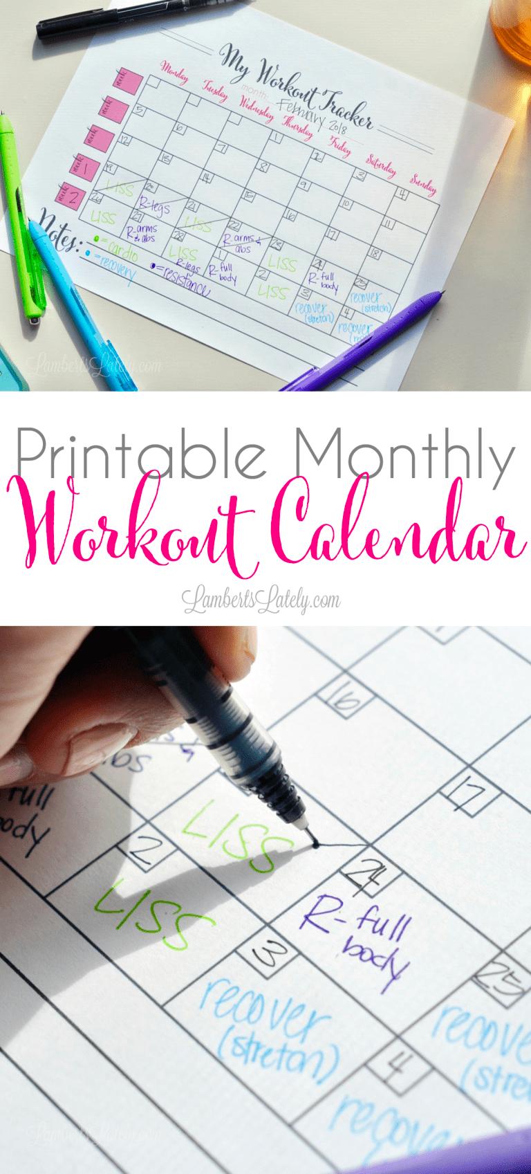 Printable Monthly Workout Calendar Workout calendar