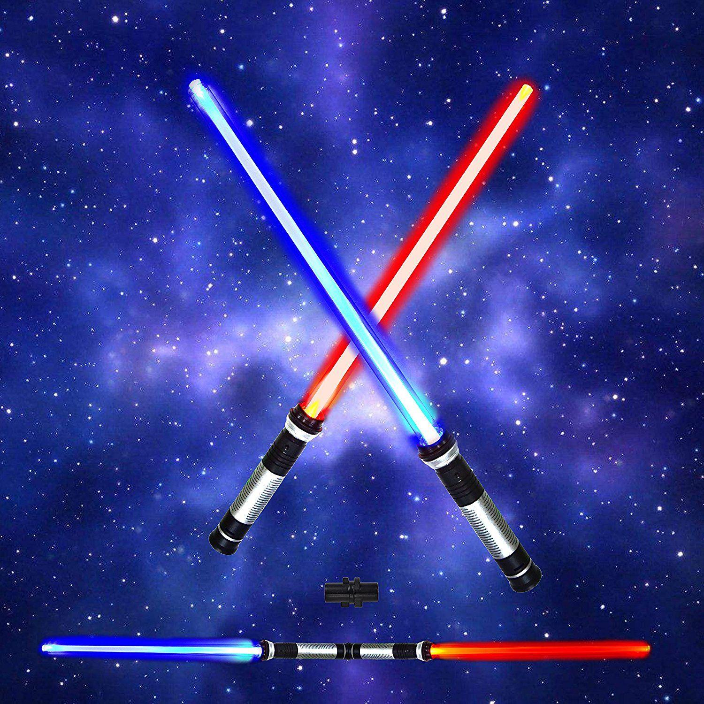 Amazon Com Laser Swords 2 In 1 Led 6 Colors Light Up Saber Sword Set With Sound Motion Sensitive For Star Galaxy War F Lightsaber Dual Swords Spooktacular