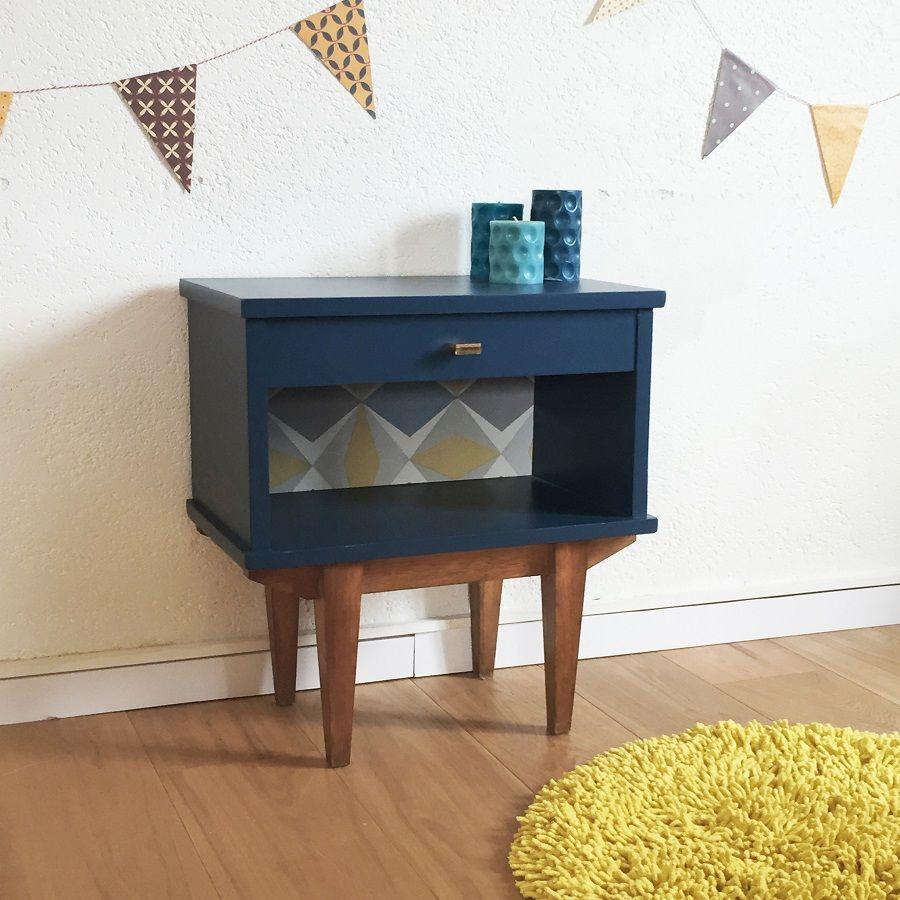 table de nuit vintage bleu pieds compas star n bytek v. Black Bedroom Furniture Sets. Home Design Ideas