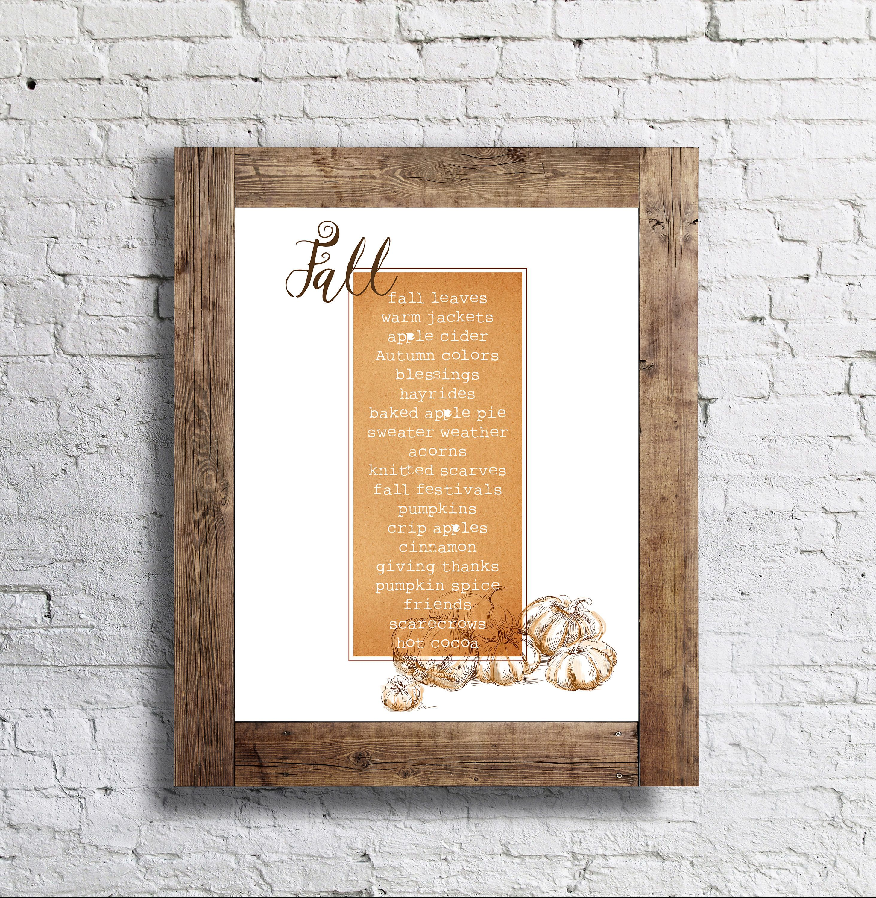 FOR SALE ON ETSY- Fall Words Poster- Autumn - 11x14 - Fall ...