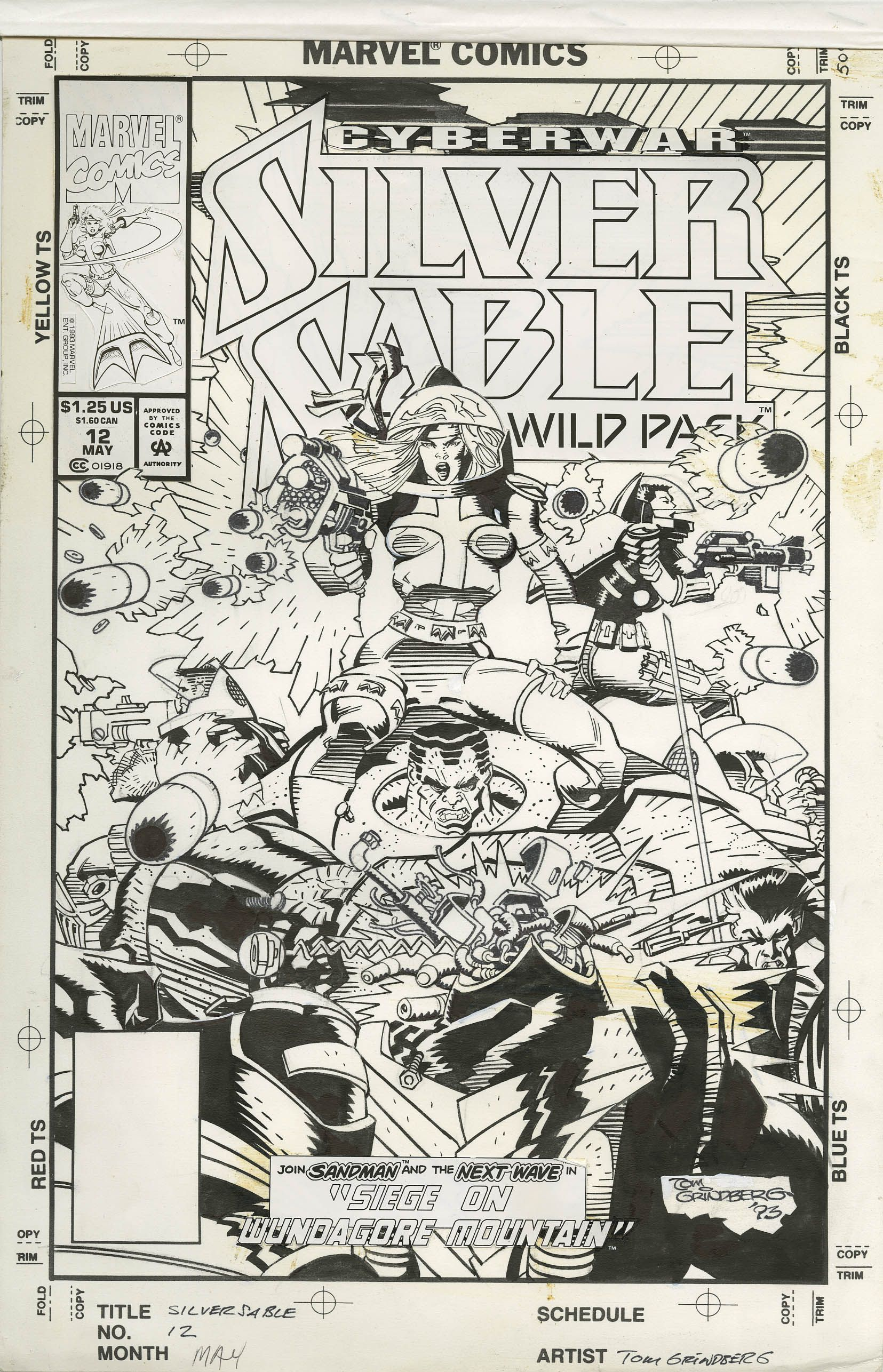 TOM GRINDBERG - SILVER SABLE AND THE WILD PACK #12 COVER 1993 - W.B.