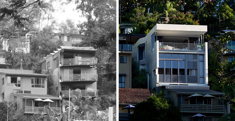 Before and after remarkable 1980 39 s contemporary duplex in for 70s house exterior makeover australia