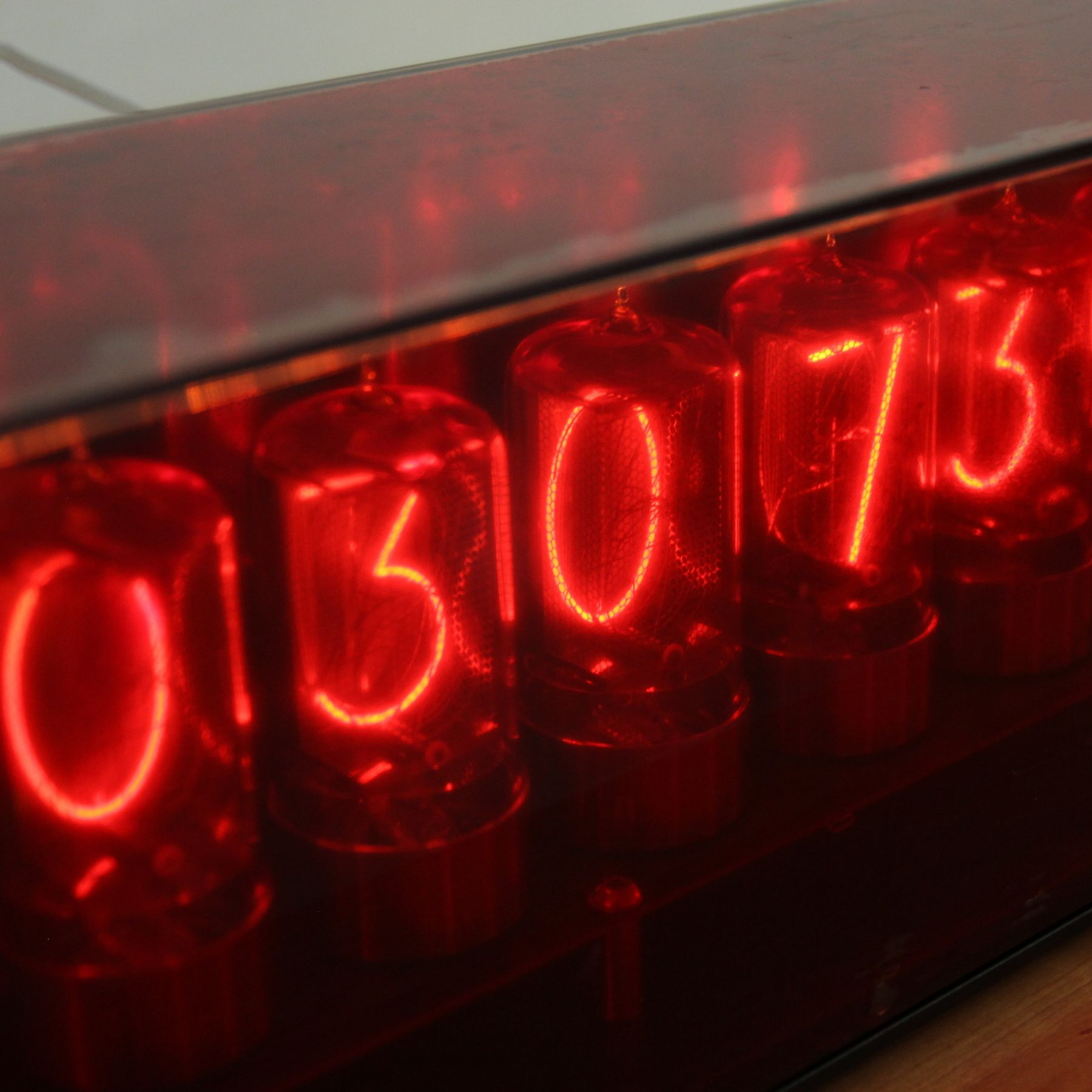 The red filter on nixie tubes is definitely not a