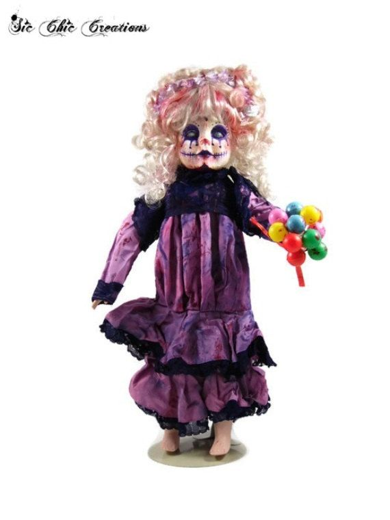 ooak scary doll halloween decoration little miss pretty circus killer clown creepy doll - Scary Clown Halloween Decorations