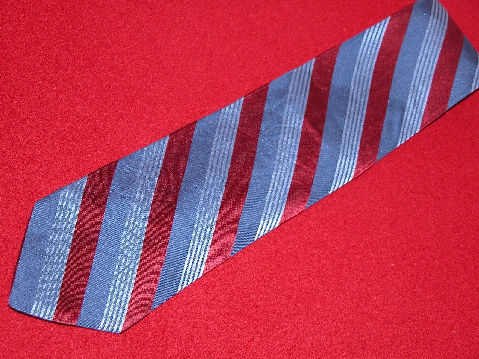 FACONNABLE  Beautiful Stripes in Red Light Blue and Dark Blue  100% Silk TIE