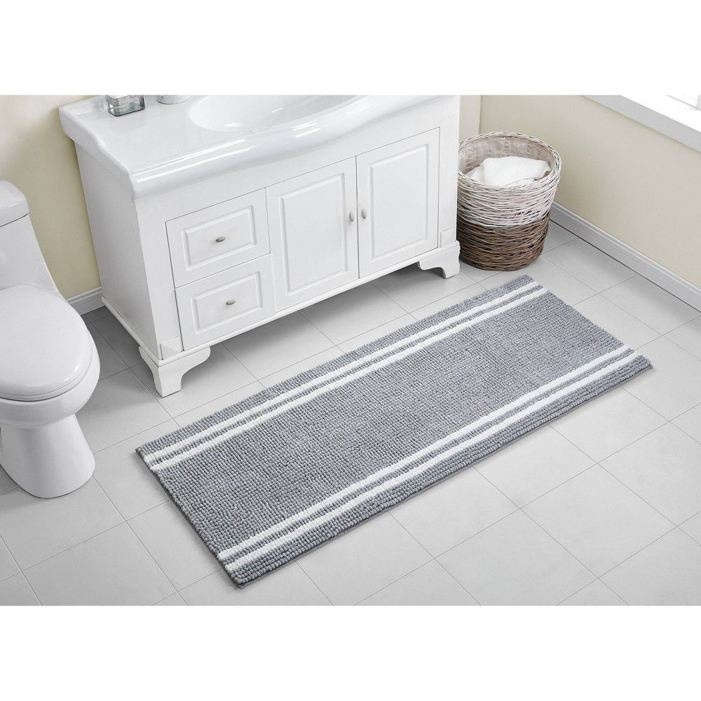 Transform Hard Floors Into Soft Texture With The Vcny Home Hotel Border Memory Foam Bath Runner This Long And Narrow Vcny Grey Bathroom Rugs Bath Runner Rugs [ 1000 x 1000 Pixel ]
