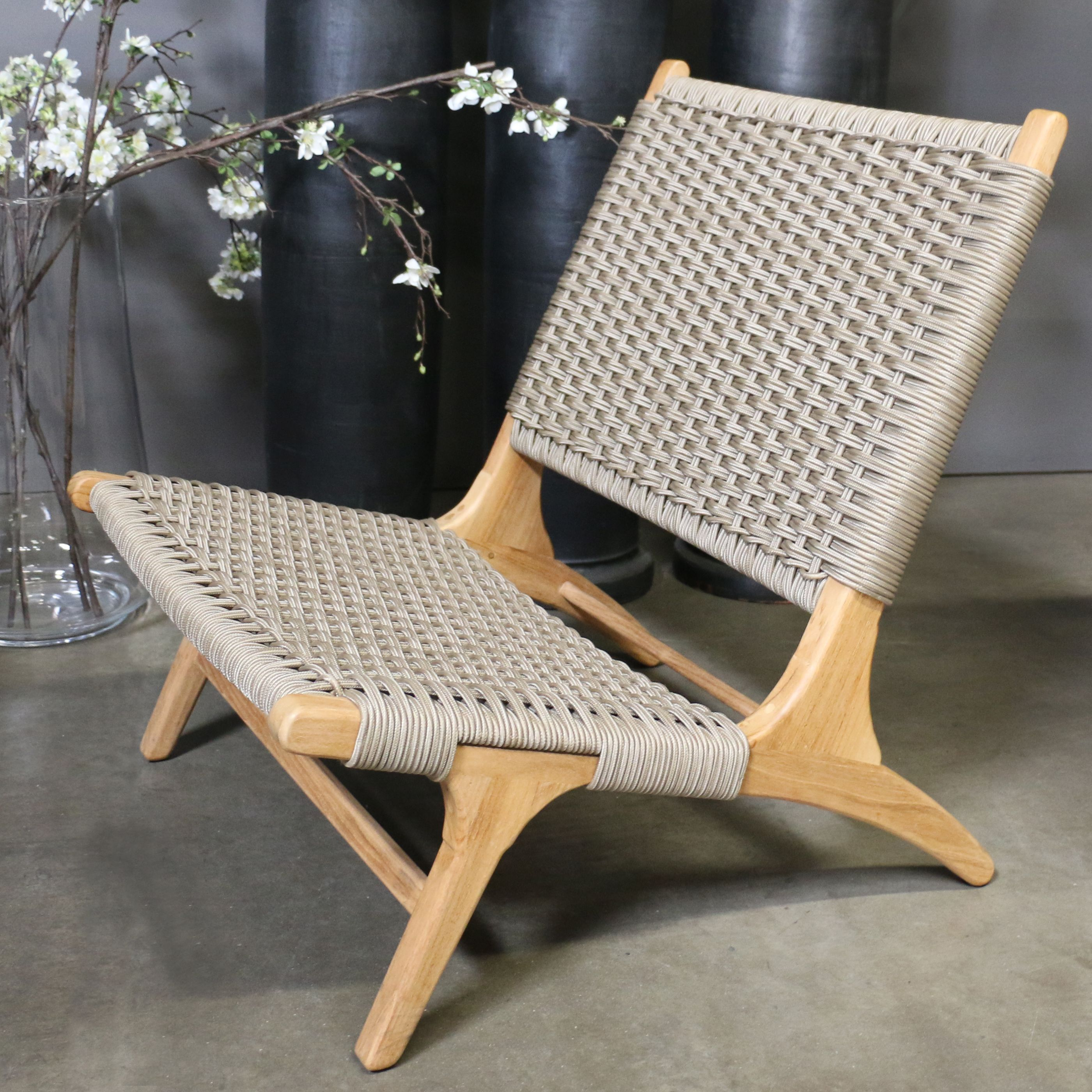 Tokio Teak Rope Chair Relaxing Chair Outdoor Chairs Comfortable Outdoor Chairs