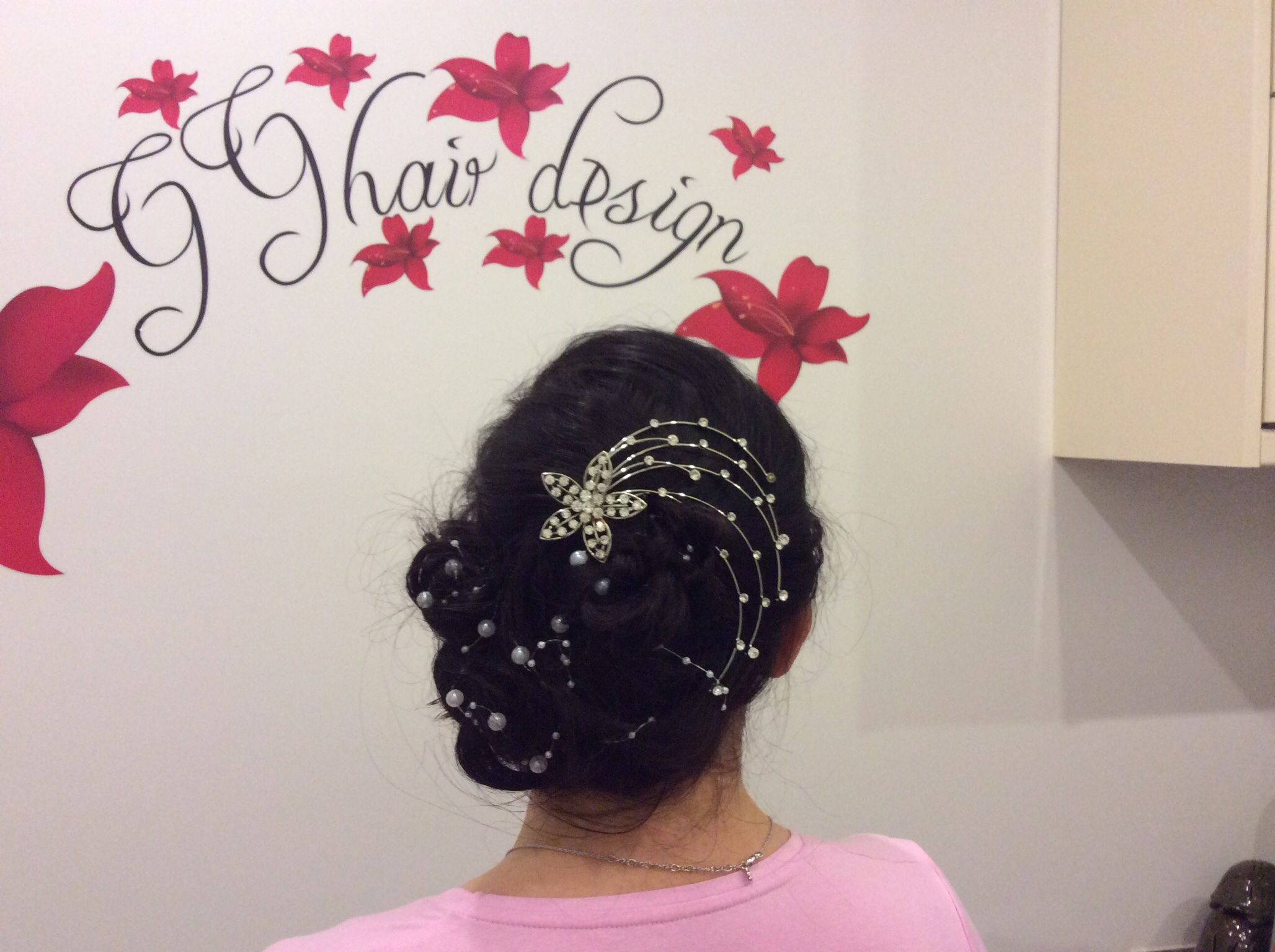 Hair up style.