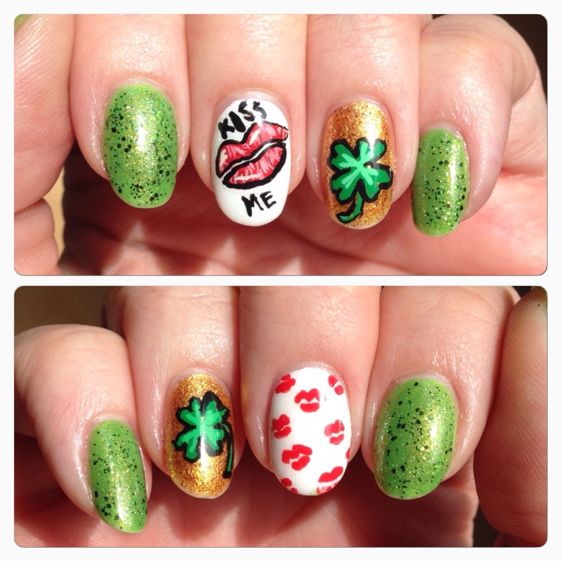 Oval round nails with kisses, lips, gold, green, St. Patrick\'s Day ...