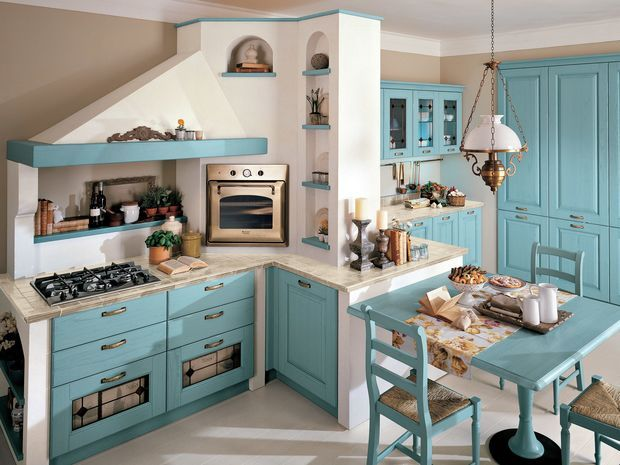 Decapé wooden kitchen with handles Laura Collection by Cucine Lube ...