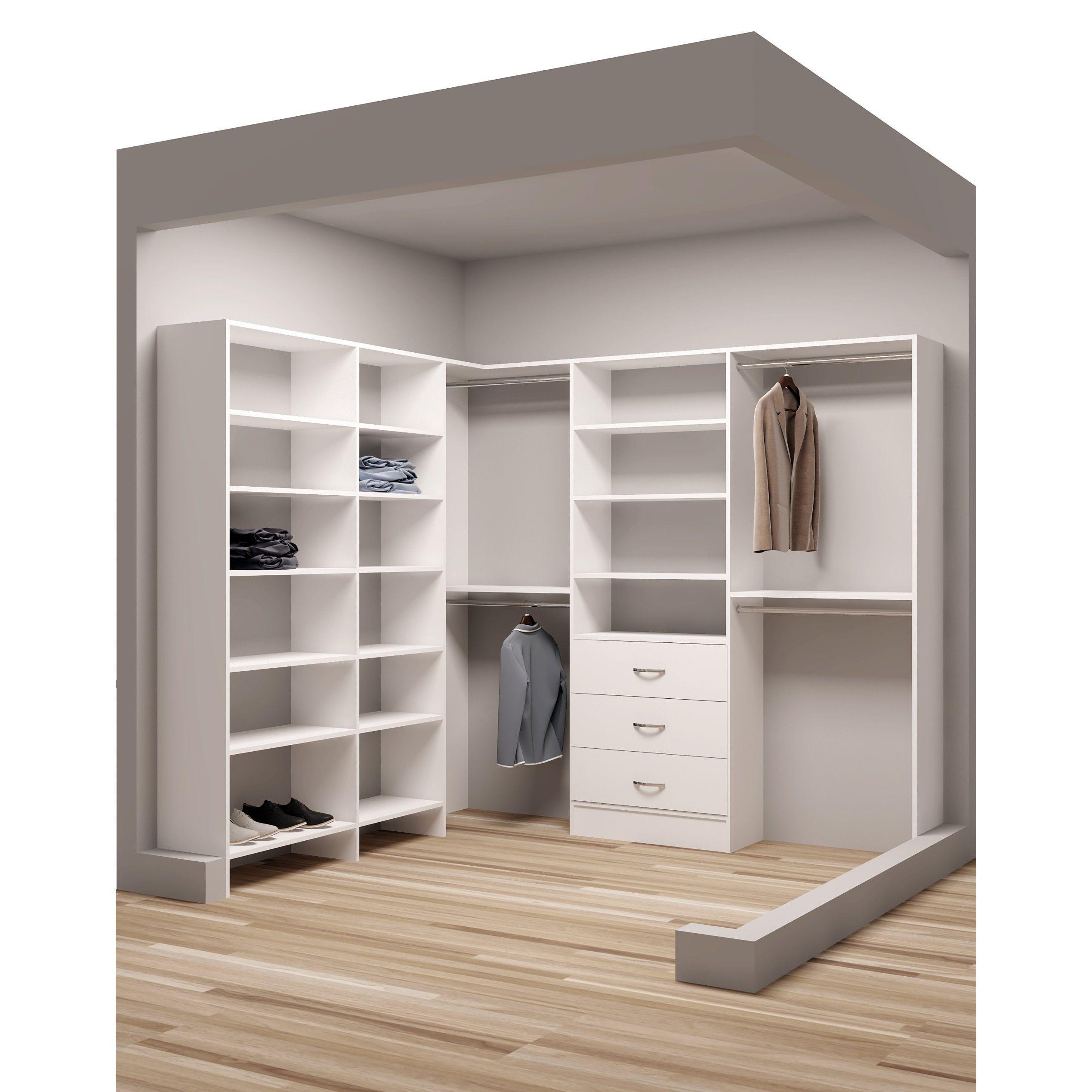 Tidysquares Classic White Wood 93 X 84 25 Corner Walk In Closet Organizer White Chrome Closet System Walkin Closets Organization Walk In Closet