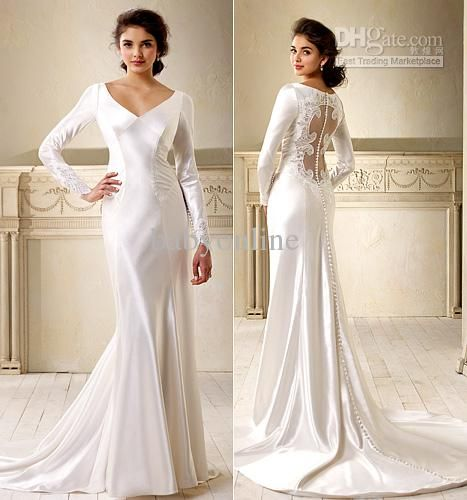 Whole New Y V Neck Long Sleeves Satin White Wedding Dresses Chapel Train Sheath Ivory Evening