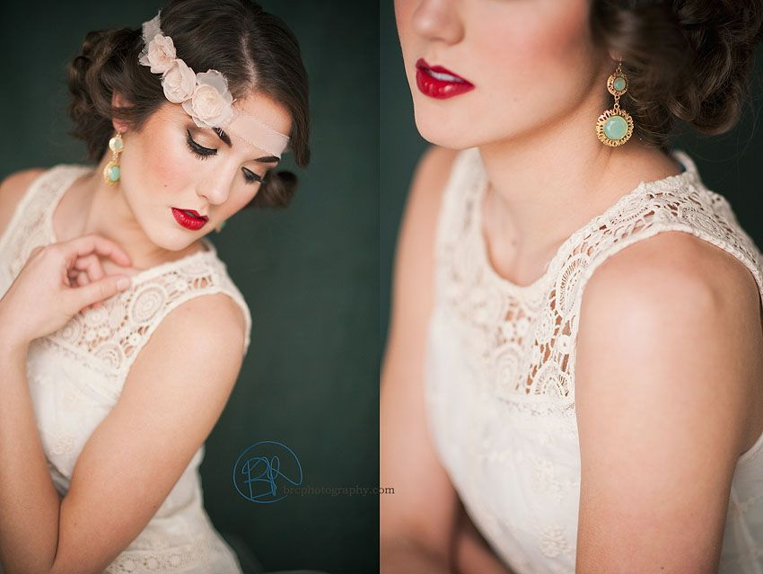 20s style glam hair & makeup, red lips, gatsby, vintage  ©BRC Photography