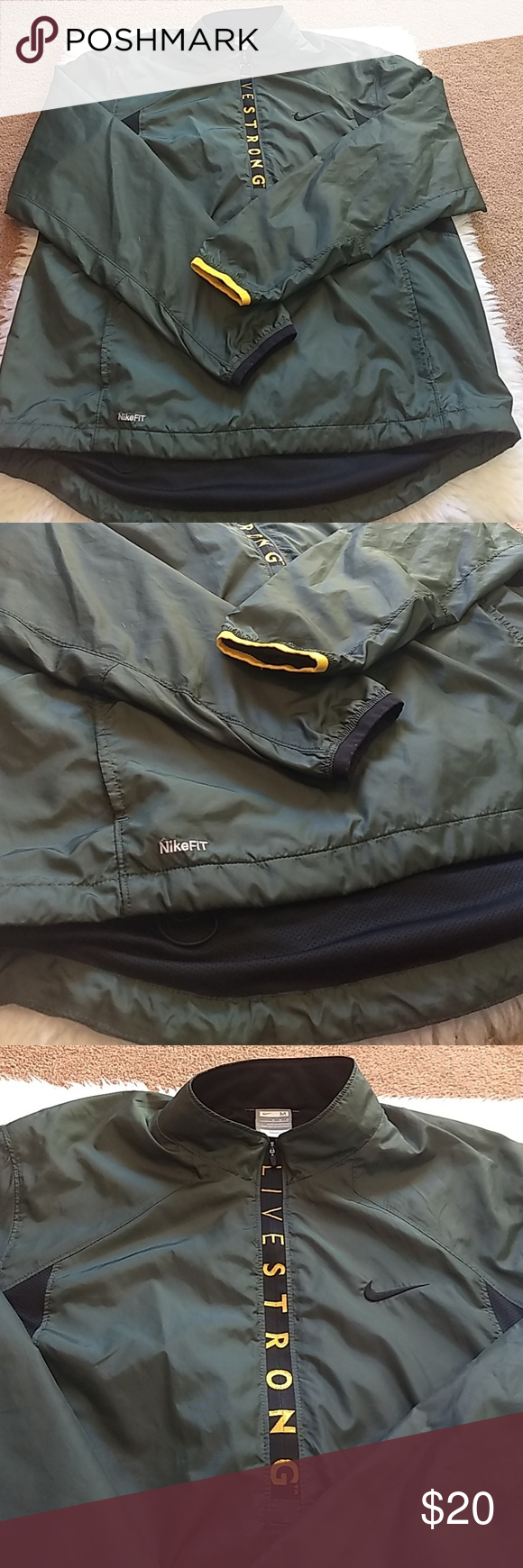 4e4b5e8b1719 Nike LiveSTRONG fitdry pullover SIZE (M) Hunter green with gold yellow .  Air vents on back. 3 4 zipper . Jacket is like new. Lightweight