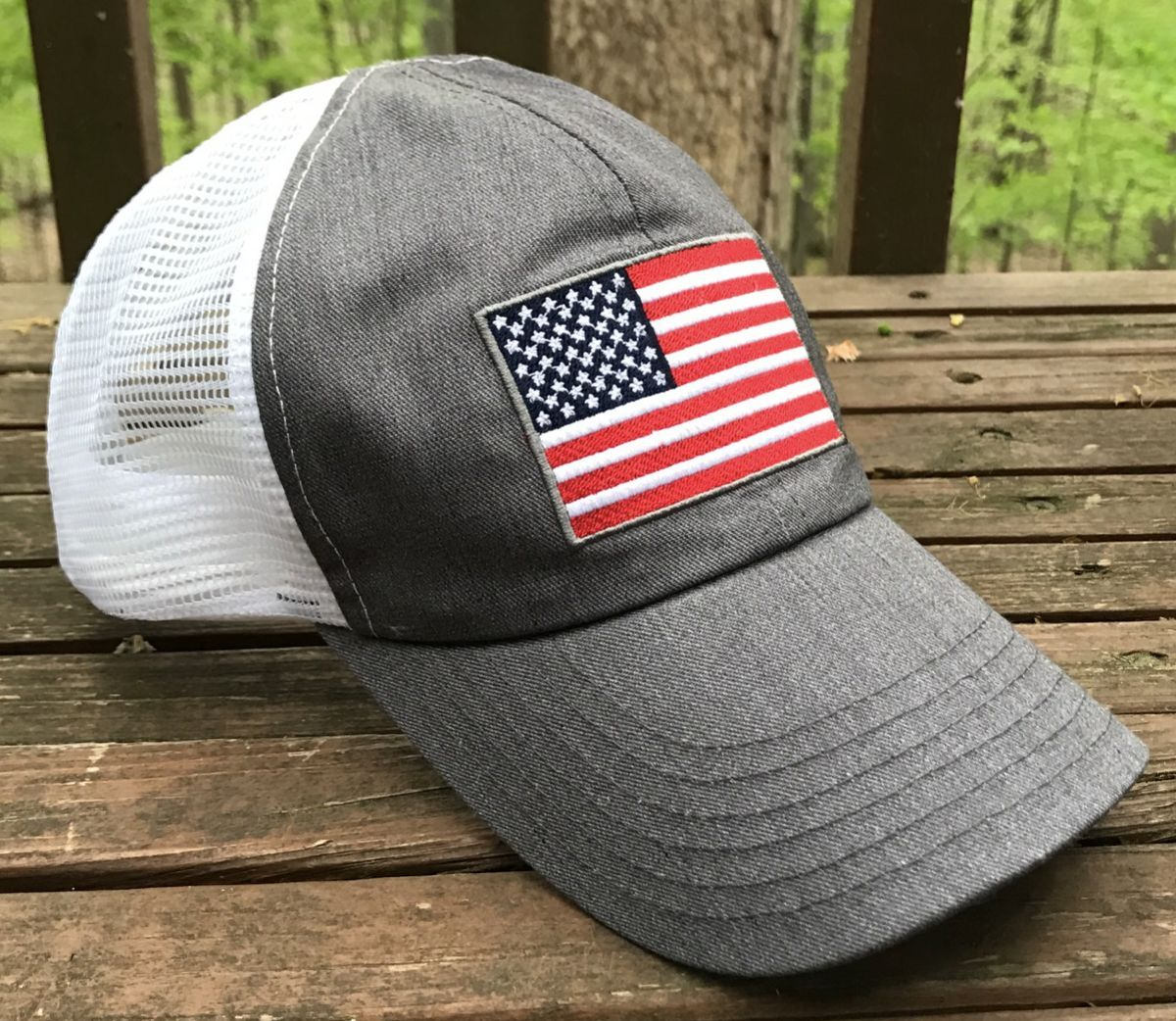 9d9f5f538226 Trucker hat with snapback made USA Soon to be you favorite patriotic  baseball cap. Red White Blue American Flag ...