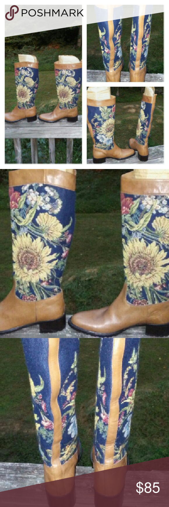 Vintage tapestry boots Italian GORGEOUS!!!!!! Sunflower Tapestry Lavorazione Artigiana  Shoes Lace Up Boots