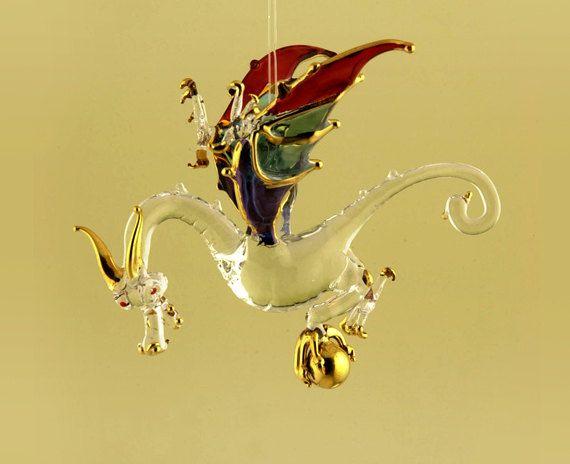 Dragon Christmas Tree Top Topper Blown Glass by SamaOrnaments