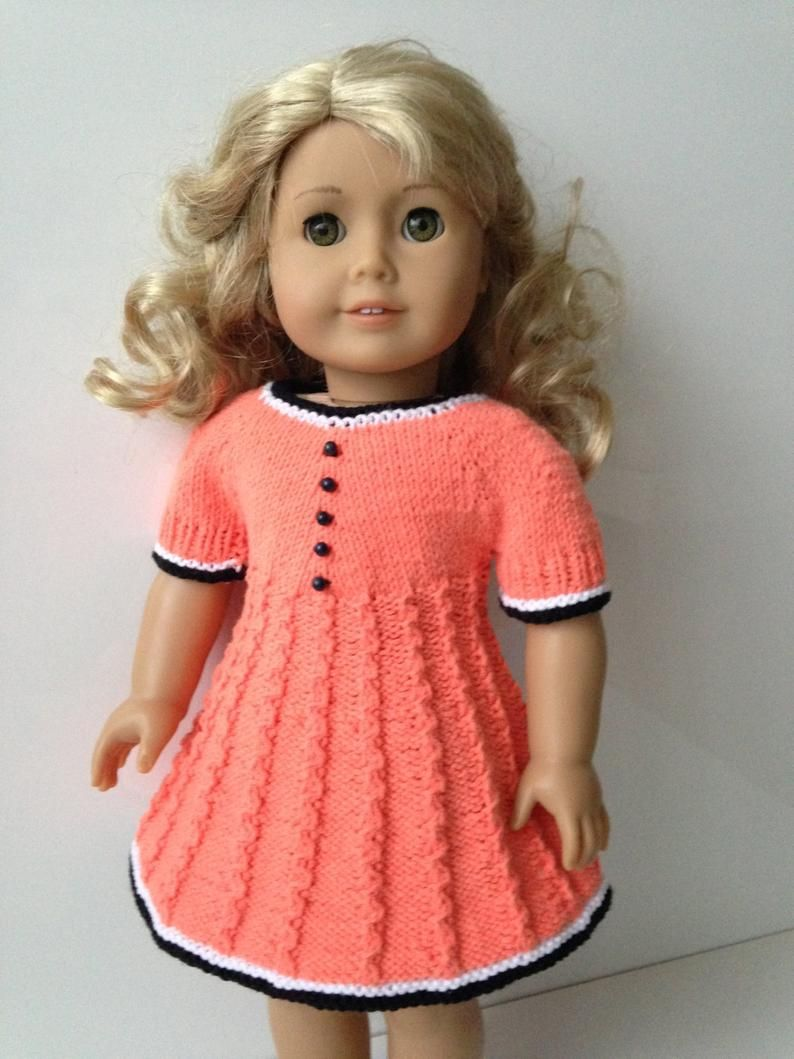 Delia Knitting Pattern for 18 inch doll dress (061)