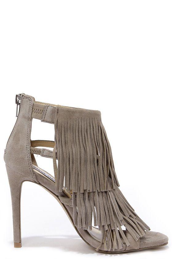 Fringly Leather Taupe Madden Dress Suede Steve SandalsHeels by76Yfgv