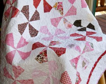 Quilt Baby Toddler Handmade Scrappy Pinwheels Patchwork Kissing Booth by Moda