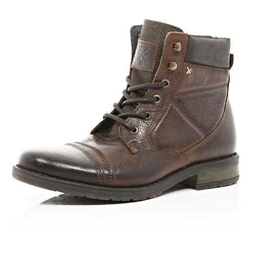 3c6e9671c17 River Island MensBrown contrast panel lace up military boots | Style ...