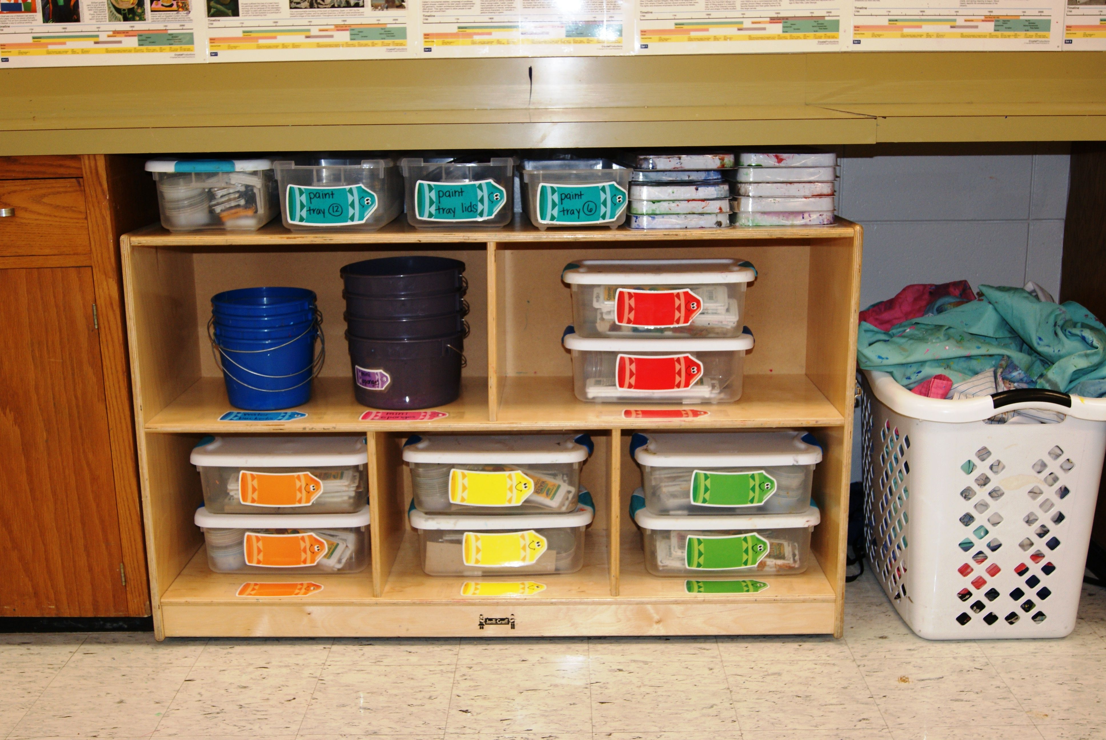 Our Paint Supply Shelf You Can See Each Table Color Has 2 Bins With All The Supplies Inside Blue Water Bucket Art Classroom Management Art Classroom Art Room