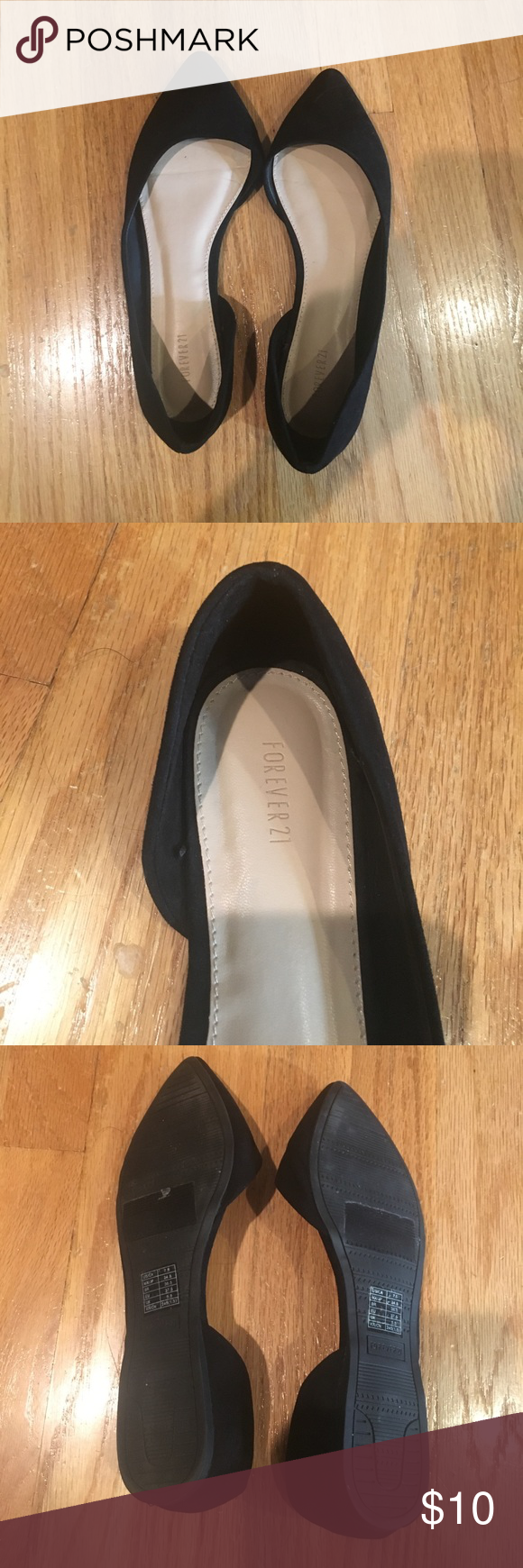 Black Pointed Toe Flats Forever 21. Black. Pointed toe. Slip on. Lightly worn. Good condition. Forever 21 Shoes Flats & Loafers