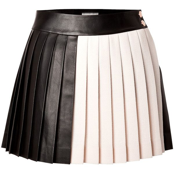 0a1b3ab00cb3 Fausto Puglisi Leather/Wool Pleated Mini-Skirt (2.635 HRK) ❤ liked on  Polyvore featuring skirts, mini skirts, bottoms, multicolor, woolen skirt,  ...