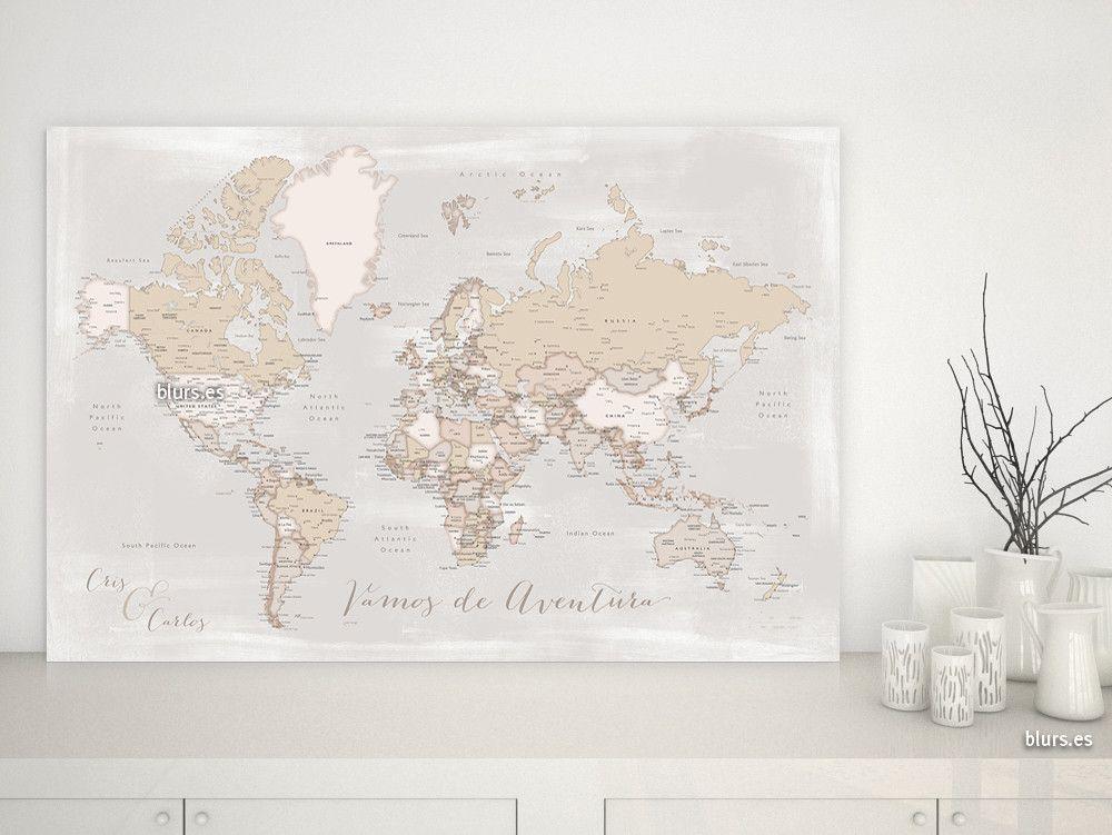 Lucille: Mapamundi personalizado para marcar viajes, estilo rústico #corkboard #mapamundi #corchera #MapaDelMundo #IdeaRegalo #MapaMundiTipoCorcho #mapa #MapaParaPonerChinchetas #MapaPersonalizado #MapaParaChincheta #MapaParaViajes #crema #aventura #gris #aventurero