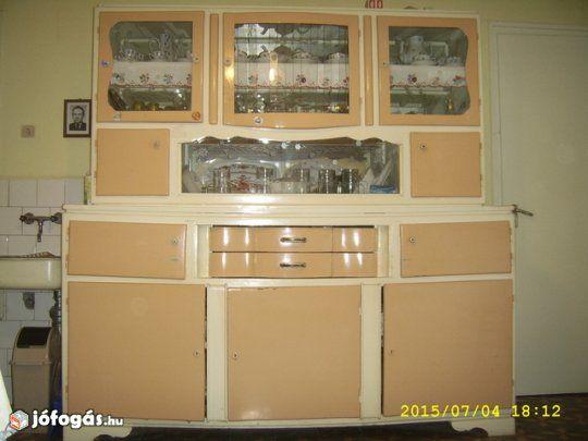Küchenbuffet Retro ~ Egyedi retro kisipari metszett üvegű konyhaszekrény kredenc eladó